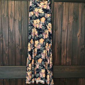 Lularoe navy floral maxi skirt - size S